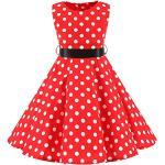 SXSHUN Mädchen Retro Vintage Rockabilly Kleid Partykleider Cocktailkleider Im 50er-Jahre-Stil, Rot + Weiß Punkt, 104/110 (Etikettengröße:110)