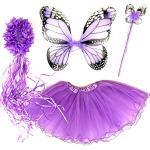 Tante Tina Schmetterling Kostüm Mädchen - 4-teiliges Mädchen Kostüm Schmetterling mit Tüllrock , Flügel , Zauberstab und Haarreif - Monarchfalter Violett - geeignet für Kinder von 2 bis 8 Jahren
