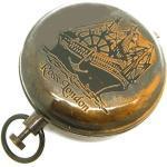 Taschenuhr im Nautischen Stil, mit Druckknopf, schweres Messing, für Marine-/Wander-/Wanderkompass, Ross, London