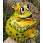 TB Keramik Gartenkugel Froschkönig Grün Gartendekoration Tierfigur Handarbeit