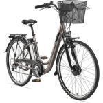 Telefunken E-Bike »Multitalent RC820«, 7 Gang Shimano Shimano Acera Schaltwerk, Kettenschaltung, Frontmotor 250 W, (mit Fahrradkorb), braun