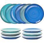 Teller Geschirr Set 6 tlg 27cm Tafel große Essteller flache Speiseteller blau 4260488827100