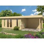 TENE Kaubandus Gartenhaus Oriental 5 SD300, 40 mm Wandstärke, unbehandelt, 770x320 cm, mit Doppeltür + Überdachung