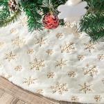 Tenrany Home Plüsch Weihnachtsbaum Rock, 122cm Gold Schneeflocken Weihnachtsbaumrock Weiß Weihnachtsbaum Röcke Schürze Ornamentes für Weihnachten Neues Jahr Dekoration (Gold, 48 inches)