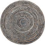 Teppich Blau Beige Jute Baumwolle 120 x 120 cm Kurzflor Boho Stil Maschinengewebt Rund