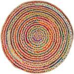 Teppich »Ethno«, Barbara Becker, rund, Höhe 4 mm, Flachgewebe, handgeflochten, Ø ca. 80 cm, Material: Jute & recycelte Baumwolle, Wohnzimmer, bunt
