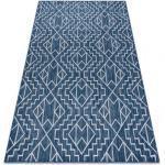 Teppich SISAL SION Geometrisch, Diamanten 21778 flach gewebt dunkelblau / ecru 80x150 cm