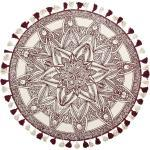 Teppich Weiß Rot Baumwolle 120 x 120 cm Kurzflor Mandala Muster Handgewebt Rund