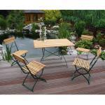 Terrassensitzgruppe aus Massivholz und Metall klappbar (5-teilig)