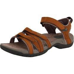 Braune Teva Tirra Damenschuhe mit Klettverschluss in Schmalweite für den Sommer