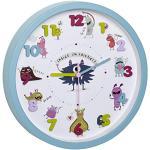 TFA Dostmann LITTLE MONSTERS Kinder-Wanduhr mit Monster-Motiven, leises Uhrwerk, ideal für das Kinderzimmer, Kunststoff, Glas, türkis, (L) 309 x (B) 44 x (H) 309 mm