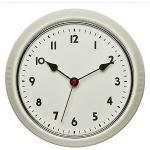 TFA Dostmann Retro Funk-Wanduhr, 60.3541.09, Vintage Uhr, analog, aus Metall, beige, (l) 240 x (b) 68 x (h) 240 mm