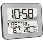 TFA Wanduhr 60.4512.54 Timeline Max Funkuhr, 25,8 x 21,2 cm, Wecker, Wochentag, Datum