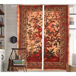 The Art Box Indische Vorhänge mit Mandala-Motiv, 2-teiliges Vorhang-Set für Fenster, Tür, zum Aufhängen, Dekoration, ca. 203 x 132 cm (orangefarbener Baum des Lebens)