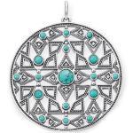 THOMAS SABO Damen-Anhänger Ethno Amulett 925 Silber Diamant (0.2 ct) weiß Türkis - D_PE0001-357-17