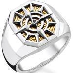 THOMAS SABO Fingerring »Kompass Gold, TR2278-849-7-52, 54, 56, 58, 60, 62, 64, 66, 68«, mit Zirkonia, schwarz