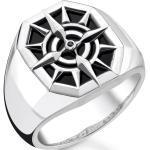 THOMAS SABO Silberring »Kompass, TR2274-641-11-52, 54, 56, 58, 60, 62, 64, 66, 68«, mit Onyx und Zirkonia, schwarz