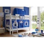 Ticaa Etagenbett Kenny, mit Rolllattenrost und Textil-Set blau Kinder Kinderbetten Kindermöbel Etagenbetten