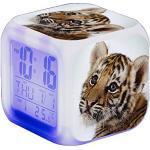 Tiger Wecker Digital Kinder Beleuchteter LED Night LCD Uhr Wake Up Wecker Geschenk für Jungen Mädchen,80x80x80cm (A)