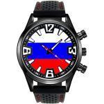 Timest - Russland - Länder Flaggen Herrenuhr mit Silikonarmband in schwarz Rund Analog Quarz SF183CC