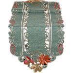 Tischdecke 40 x 140 cm spitzoval Tischläufer Deckchen Leinenoptik grün Blätter terrakotta beige gestickt Herbst (Tischläufer 40x140 cm oval)