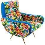 Toiletpaper Gepolsterter Sessel / durchlöcherte Blumen - Velours - Seletti - Blau/Bunt