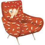 Toiletpaper Gepolsterter Sessel / Katze - Velours - Seletti - Rot/Orange/Bunt