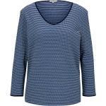 Blaue Langärmelige Tom Tailor V-Ausschnitt Damenshirts