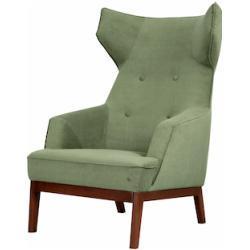TOM TAILOR Ohrensessel COZY, im Retrolook, mit Kedernaht und Knöpfung, Füße nussbaumfarben grün Lesesessel Sessel