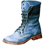 Tomwell Damen Stiefel Mit Blockabsatz Biker Boots Nieten Herbst Und Winter Schön Combat Boots Klassischer Schnürhalbschuh Blau 38 EU