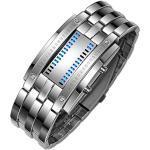 TONSHEN Fashion Binäre Edelstahl Digital Uhren für Herren und Damen Kalender LED Blau Licht Einzigartiges Design Silber Rechteck Bezel Cool Armbanduhr (Herren)