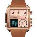 TONSHEN Herren Luxus Fashion Uhren LED Elektronik Alarm Analog Quarz DREI Zeit Digitaluhr Outdoor Sportuhr Groß Edelstahl Lünette mit Leder Band Armbanduhr (Rosa 2)