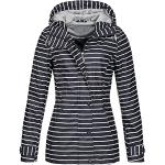 Top Fuel Fashion Damen gestreifte Regenjacke Anny wasserabweisender Kapuzenparka Navy/Offwhite XXL