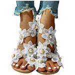Weiße Bohemian Keilabsatz Zehentrenner mit Strass mit Schnürsenkel in Spezialweite mit herausnehmbarem Fußbett für Damen für den Sommer