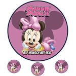 Tortenaufleger Geburtstag Tortenbild Zuckerbild Oblate Motiv: Disney Minnie Maus 04 (Oblatenpapier)