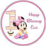 Tortenaufsatz zum 1. Geburtstag, Motiv: Minnie Maus, 19 cm, rund, essbar