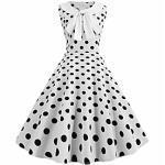 Totod Vintage Dot Print Kleid für Frauen elegante 50er Jahre Bogen Revers Swing lässig Abend Party Abschlussball Kleid weiß Lightinthebox