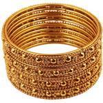 Touchstone Armreif Kollektion Indisches Bollywood Ethno Filigran mit modernem Twist Charmant Look Dicke Designer Schmuck Armreifen Armbänder für Damen 2.37 Set von 4 Gold