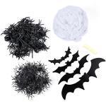 TOYMYTOY 100g Halloween Weiß Spinnennetz Schwarze Fledermäuse und Spinnen für Halloween Spukhaus Dekoration