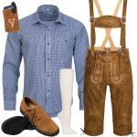 Trachten Set 6tlg Herren Trachtenlederhose mit Träger Hemd Schuhe Socken BR3B1