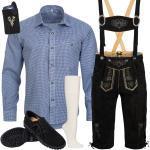 Trachten Set 6tlg Herren Trachtenlederhose mit Träger Hemd Schuhe Socken SW3B1