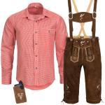 Trachten Set Herren Trachten Lederhose mit Tracht Träger Hemd Tasche Oktoberfest