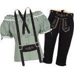 Trachtenset Damen Trachten Lederhose schwarz mit Trachtenbluse grün weiß kariert