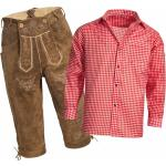 Trachtenset Herren Trachten Lederhose Kniebund hellbraun + Trachtenhemd rot