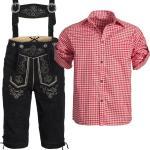 Trachtenset Trachtenlederhose schwarz 46 - 60 + Trachtenhemd rot S - 3XL