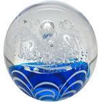 Traumkugel- Briefbeschwerer medium: Motiv weiße Blume auf blauen Wellen