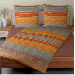 TRAUMSCHLAF Bettwäsche Martinique, warme kuschelige Feinbiber Qualität braun nach Größe Bettwäsche, Bettlaken und Betttücher