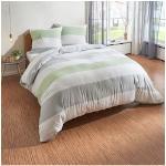 TRAUMSCHLAF Bettwäsche Melange Streifen grün, Biberbettwäsche weich und kuschelig grün nach Größe Bettwäsche, Bettlaken Betttücher