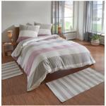 TRAUMSCHLAF Bettwäsche Melange Streifen rose, Biberbettwäsche weich und kuschelig rosa Bettwäsche-Sets Bettwäsche, Bettlaken Betttücher