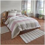 TRAUMSCHLAF Bettwäsche Melange Streifen rose, Biberbettwäsche weich und kuschelig rosa nach Größe Bettwäsche, Bettlaken Betttücher